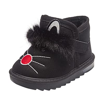 Baby Leather Boots,Cywulin Children Cartoon Fur Warm Luminous Sneakers Shoes