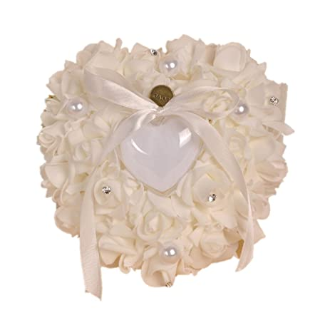 Amazon wedding ring pillow heart box with ribbon pearl wedding wedding ring pillow heart box with ribbon pearl wedding ceremony for wedding supplies giftivory junglespirit Images