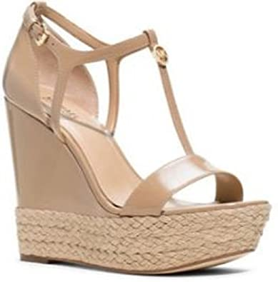 58480e0afa7b Michael Korks Women s Shoes Kerri Wedge Platform Sandals Patent Leather  Nude ...