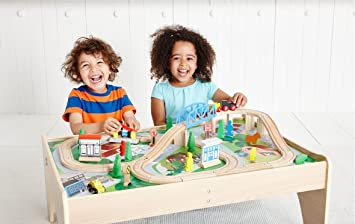 ELC Big City Wooden Rail Play Table  sc 1 st  Amazon UK & ELC Big City Wooden Rail Play Table: Amazon.co.uk: Toys u0026 Games