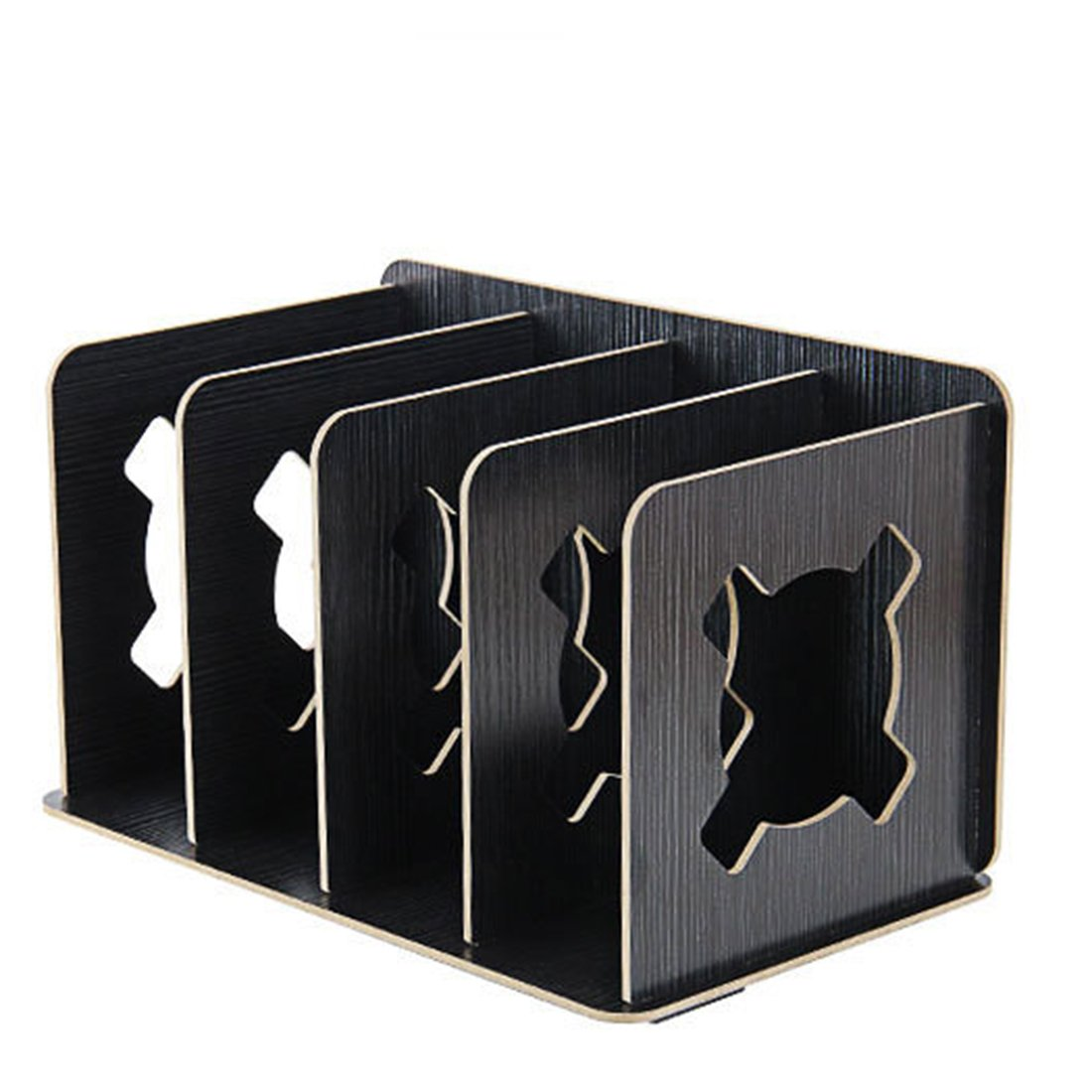 iTECHOR Creative Student Book Clip Shelf Durable Files Organizer Stand Frame - Silver Black