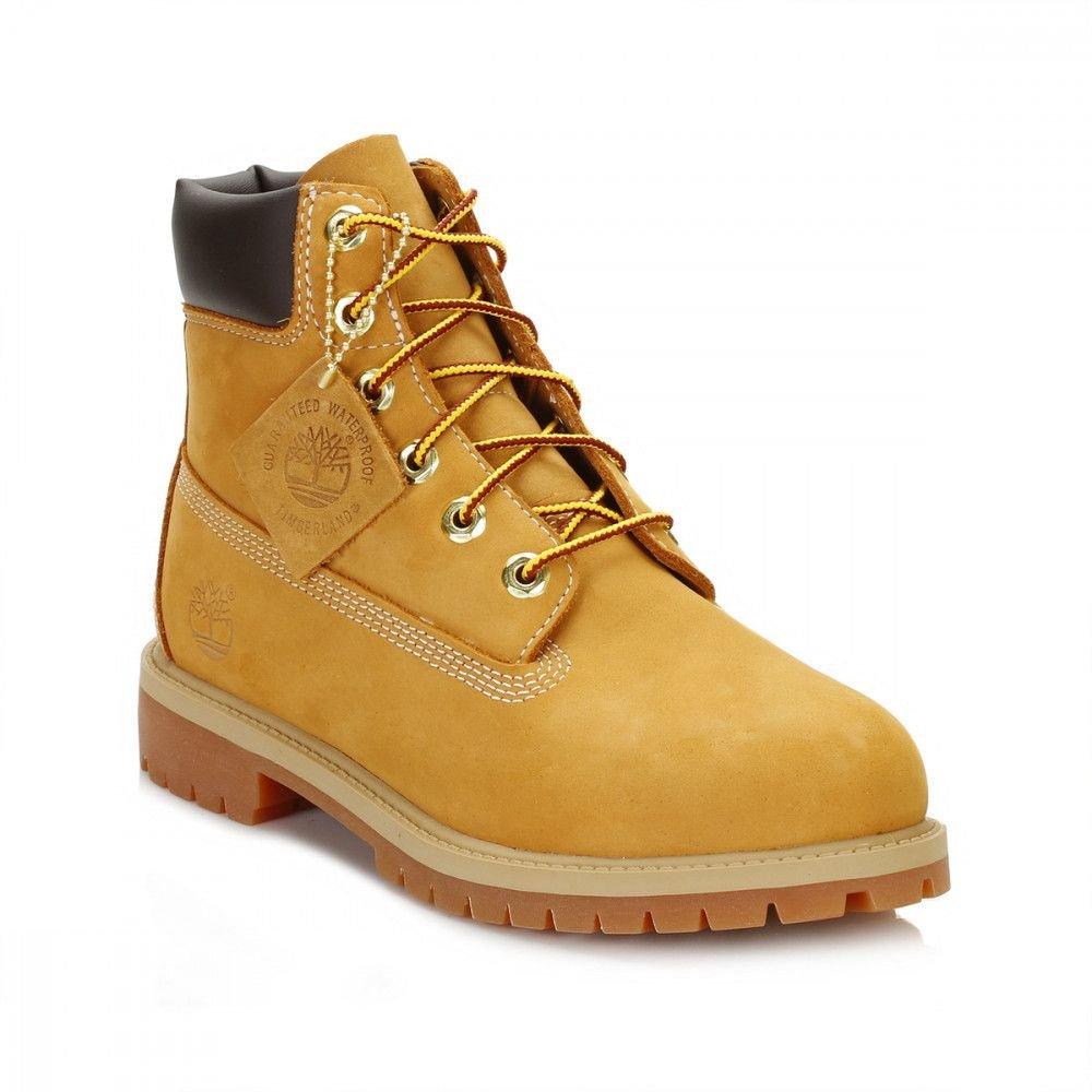Timberland 6'' Premium Waterproof Boot, Wheat Nubuck, 6 W US Big Kid