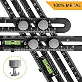 Tools & Hardware : Qooltek Template Tool - Aluminum Alloy Multi-Angle Measuring Ruler - Great Layout Tool with A Storage Bag & 2 Level Bubbles(Black)
