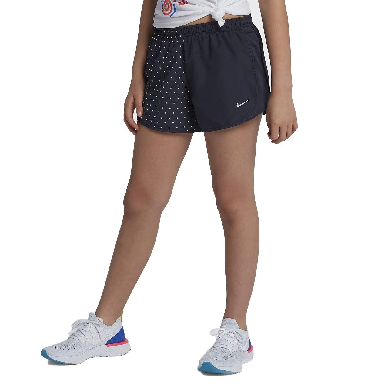 Nike Girl`s Dri-FIT Running Shorts (Obsidian(AR0409-451)/White, X-Large) by Nike