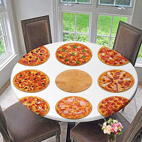 PINAFORE HOME Elasticized Table Cover Eight Pizza Set for menu Italian Food Traditional Cuisine Meat Pizzas with Salami Machine Washable 35.5