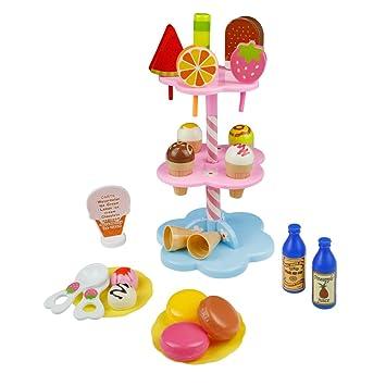 Cocina Set Comida Juguete Fiesta Cumpleaños Infantil Helados Juguete Juego de Roles - DIY Postres y Helado de Imaginación Set para niños 3 años (22 Pcs) : ...