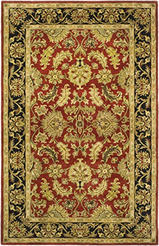 Safavieh Heritage Collection HG628C Handcrafted Traditional Oriental Red and Black Wool Area Rug (4' x 6')