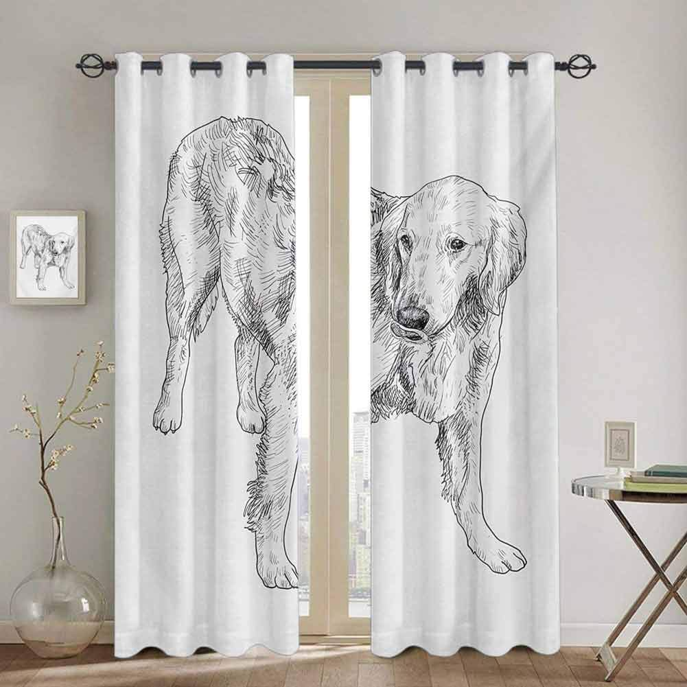Homrkey Golden Retriever All Season Insulation Young Furry Dog Tongue Out Monochrome Sketch Artwork Pet Companion W84 x L96 inch Black and White by Homrkey