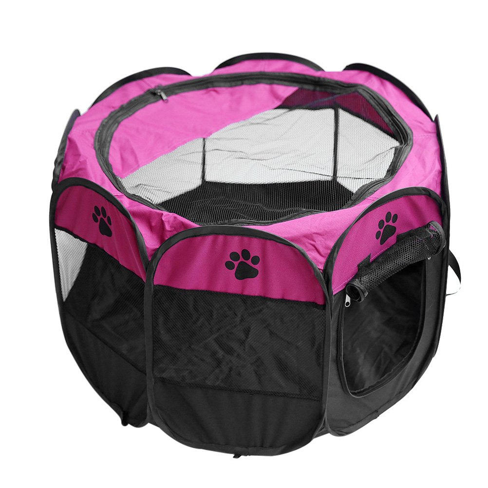 UEETEK 8-Pannel Pet Playpen Portable Puppy Dog Cat Crate Cage Kennel Tent Size S (Rosy)