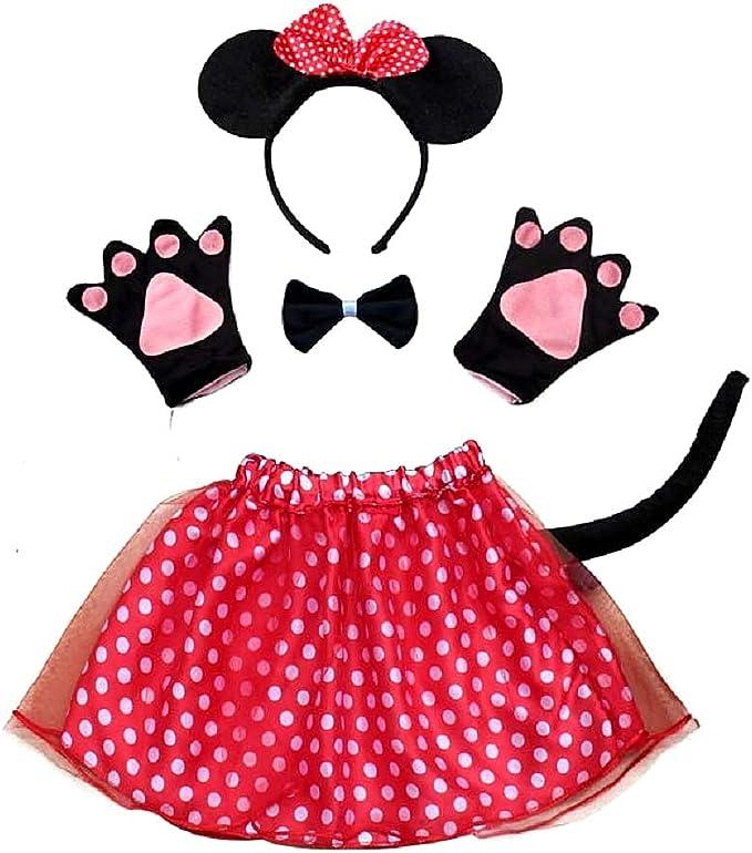 Disfraz de minnie mouse de lot - niña - tutú - diadema - guantes ...