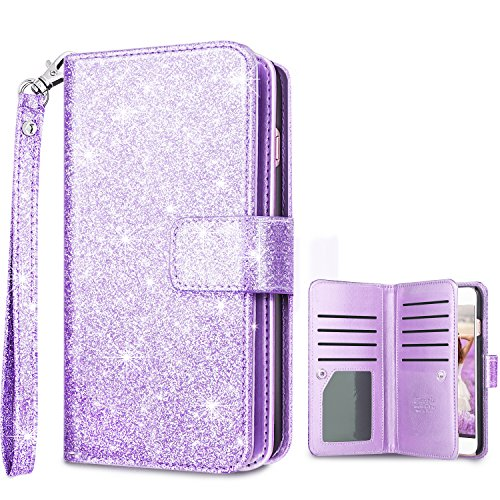 Fingic Compatible with iPhone 7/8 Plus Wallet Case,Luxury Shiny Flip Folio Case Nickel Plated Press Stud [Magnetic Snap Closure][Cash Holder] [Wrist Strap] Protective Case for 7/8 Plus 5.5