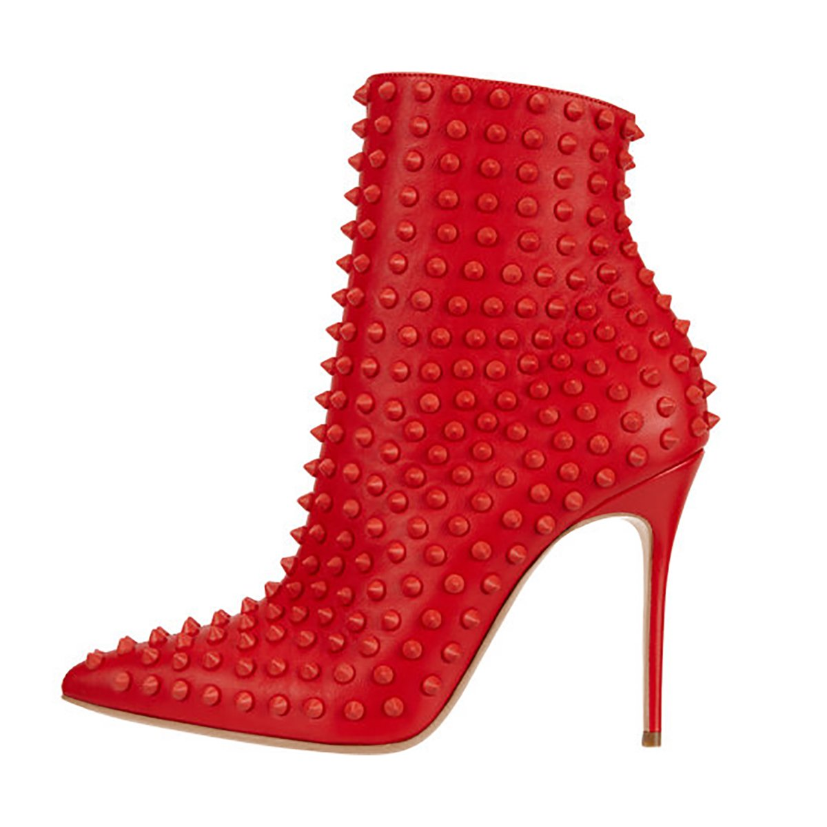 FSJ Women Fashion High Heel Ankle Boots with Rivets Pointed Toe Stilettos Zipper Shoes Size 4-15 US B0755CZ2HQ 13 B(M) US|Red