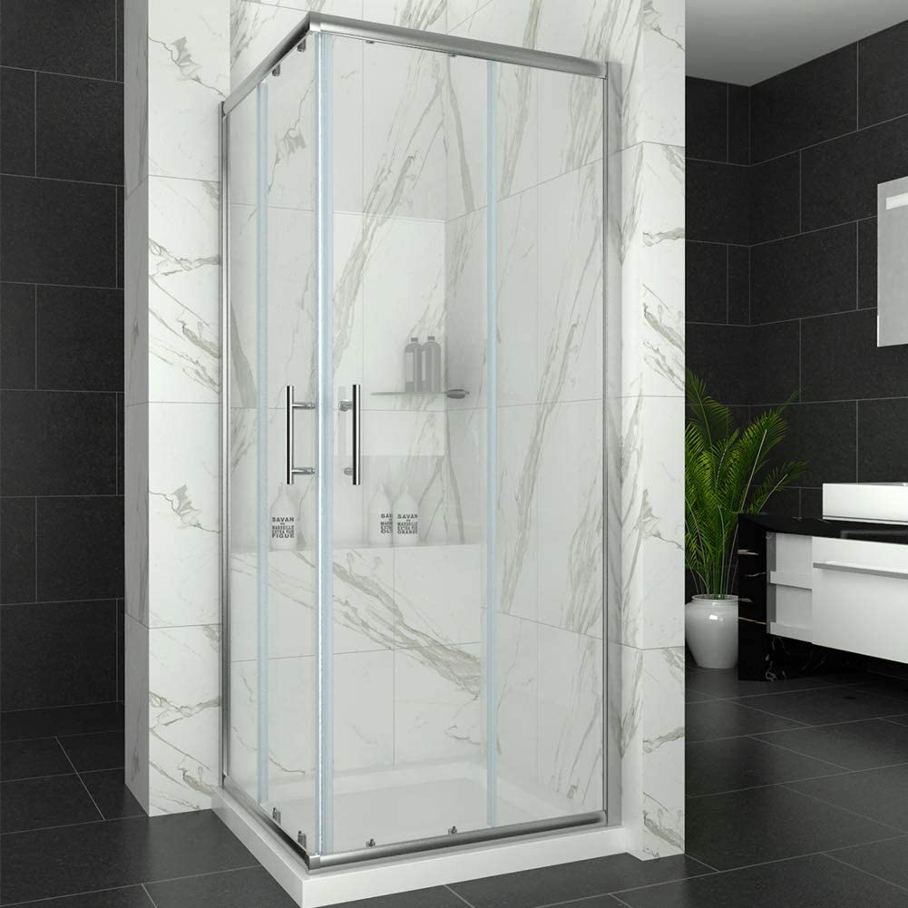 Elegant 760 x 760 mm Sliding Doors Corner Entry Shower Enclosure 6mm Extra Toughened Safety Glass Screen Cubicles