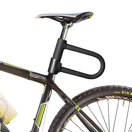 DINOKA Candado en U, U Lock Candado Bicicleta Alta Seguridad de 16mm con Abrazadera de Soporte + 1200mm de Cable de Acero Trenzado Flexible