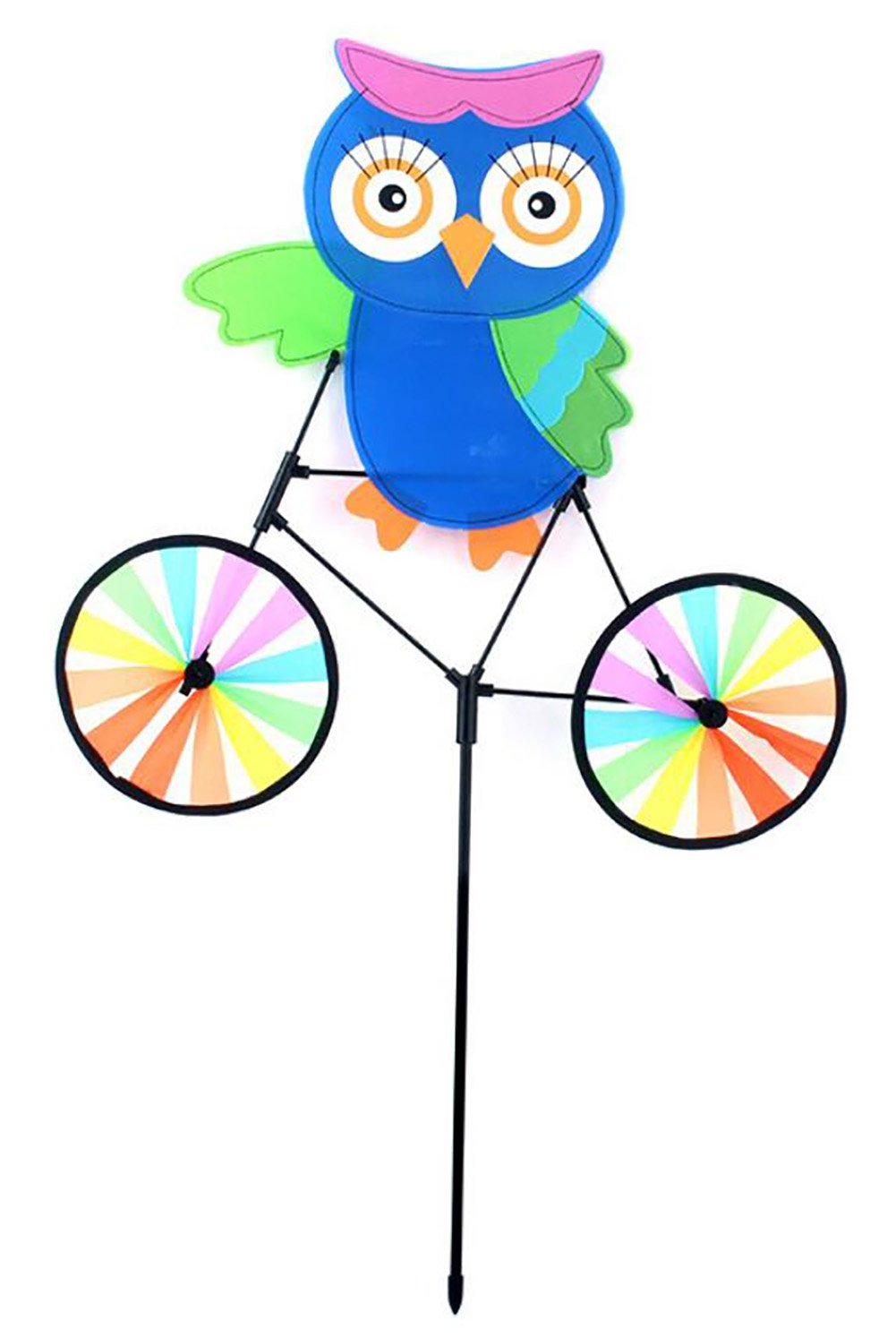 Large Rainbow Triple Wheel Spinner- Ground Stake Included - Colorful Wind Spinner(Rainbow) adore