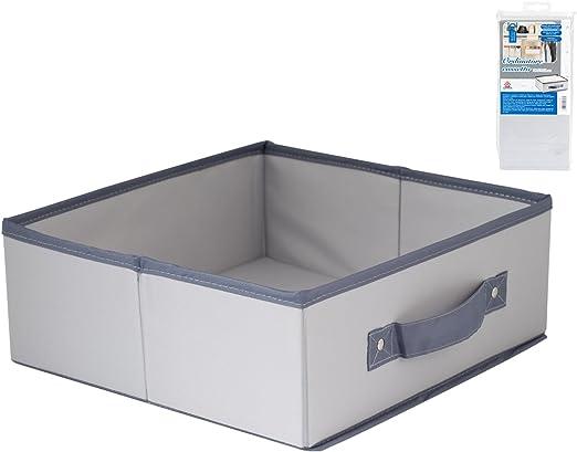 HOME - Caja de ordenación para cajón, 28 x 27 x 11 cm, Nailon, Color Gris: Amazon.es: Hogar