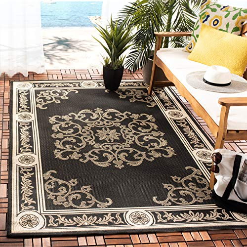 (Safavieh Courtyard Collection CY2914-3908 Black and Sand Indoor/ Outdoor Area Rug (9' x 12'))