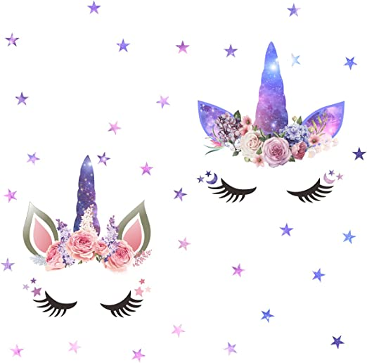 Unicorn Wall Decals Bedroom Wall Decor Girls Wall Decals Unicorn Peel and Stick Removable Wall Decals Watercolour