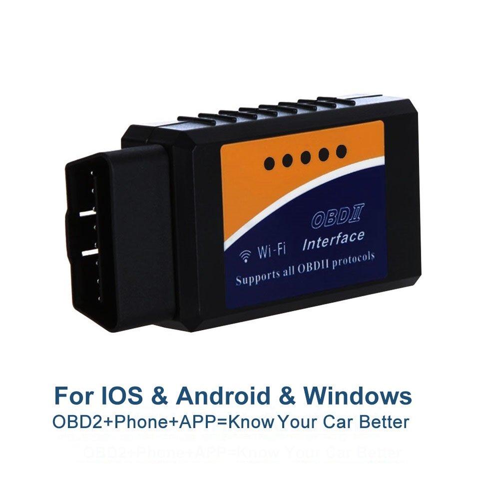 Golvery WiFi OBD OBD2OBDII Outil de diagnostic auto, mini adaptateur Wifi OBD scanner, pour diagnostiquer les codes d'erreur sur la plupart des véhicules, compatible avec Smartphone iOS, Android et Windows , PC,