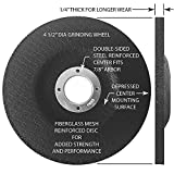 4-1/2 Inch x 1/4 Inch x 7/8 Inch - 6 PACK - PREMIUM GRINDING WHEELS for Grinders - Aggressive Aluminum Oxide Grain for Grinding all Ferrous Metals/Stainless Steel, Depressed Center