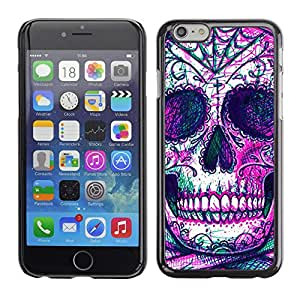 Eason Shop / Hard Slim Snap-On Case Cover Shell - Skull Skeleton Ink Purple Tattoo - For Apple Iphone 6