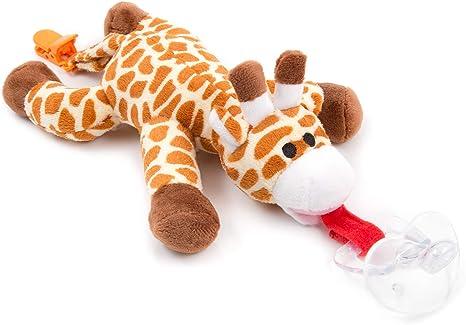 Chupete con jirafa BabyHuggle - Chupeta con peluche para bebé, Juguete de felpa suave con chupón separable de silicona, Chupador con correa, cierre & Sonido. Porta-mordedor: Amazon.es: Bebé