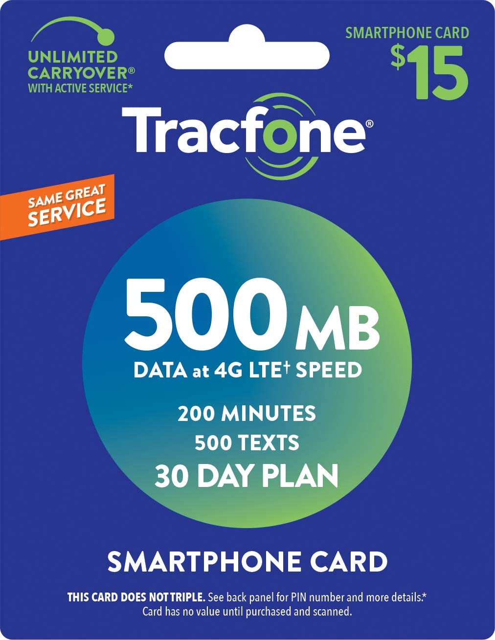 Tracfone Smartphone Service Plan - 30 Days, 500MB Data, 200 Minutes, 500 Texts (Mail Delivery)