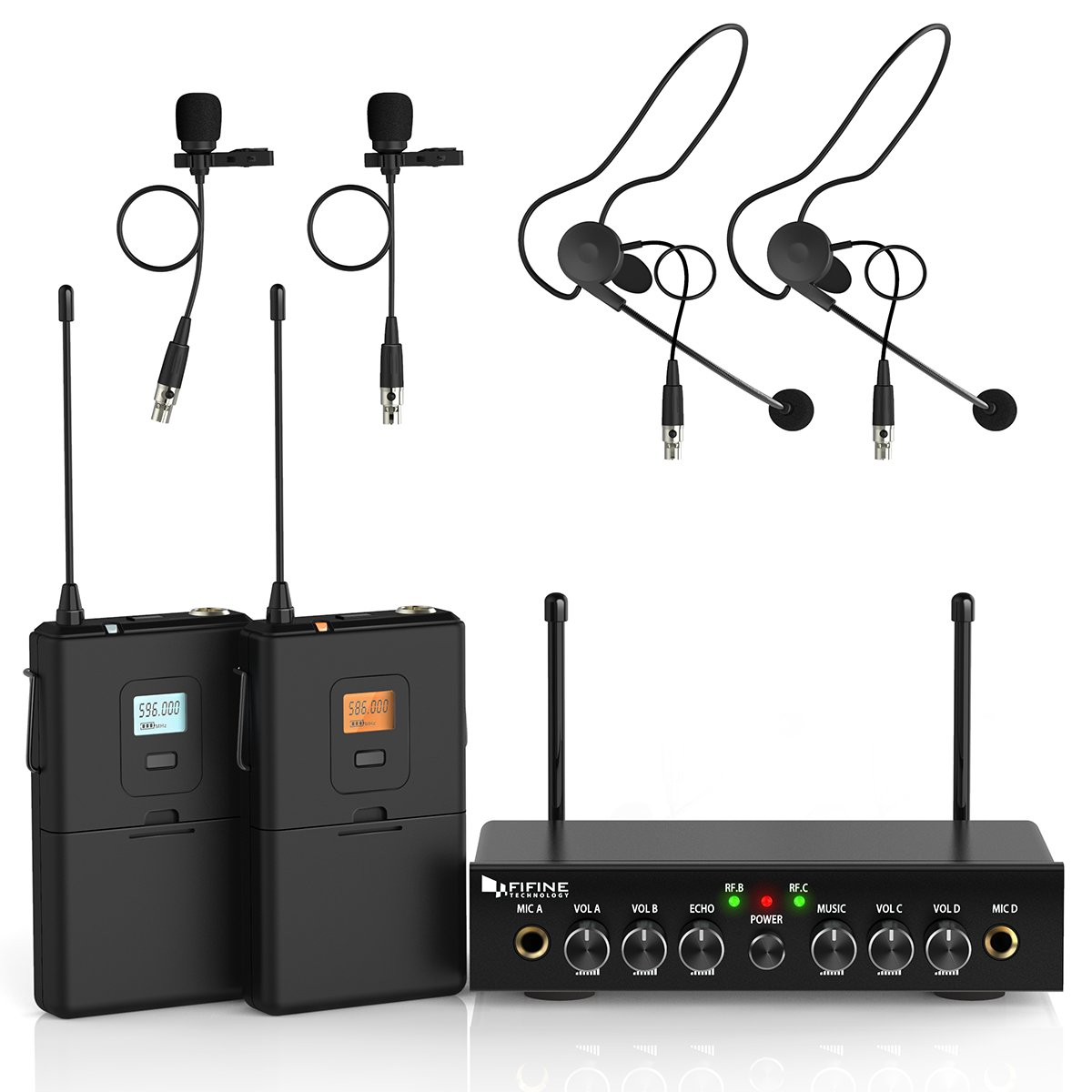 Wireless Microphone System,Fifine UHF Dual Channel Wireless Microphone Set with 2 Headsets & 2 Lapel Lavalier Microphone.Ideal for Church, Weddings,Presentations,School Play.(K038)