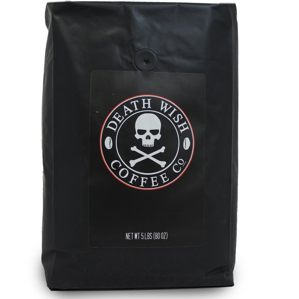 Death Wish Whole Coffee, The World's Strongest Coffee, Fair Trade and USDA Certified Organic - 5 Pound Bulk Value-Bag by Deathwish (Image #1)