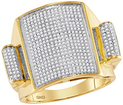 Pave Set Dome Ring (10kt Yellow Gold Mens Round Pave-set Diamond Rectangle Dome Cluster Ring 3/4 Cttw (I2-I3 clarity; J-K color))