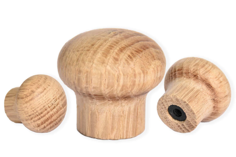 H/öhe: 25 mm 6 M/öbelknopf /Ø 30 mm M/öbelknauf Holz Eiche unbehandelt