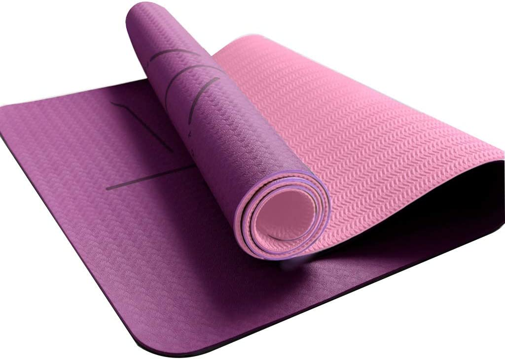 Amazon Com Runwei Tpe Yoga Mat Men And Women Leisure Travel Camping Mat Entertainment Fitness Protective Gear Color Purple Light Pink Size 183cmx80cmx6mm Home Kitchen