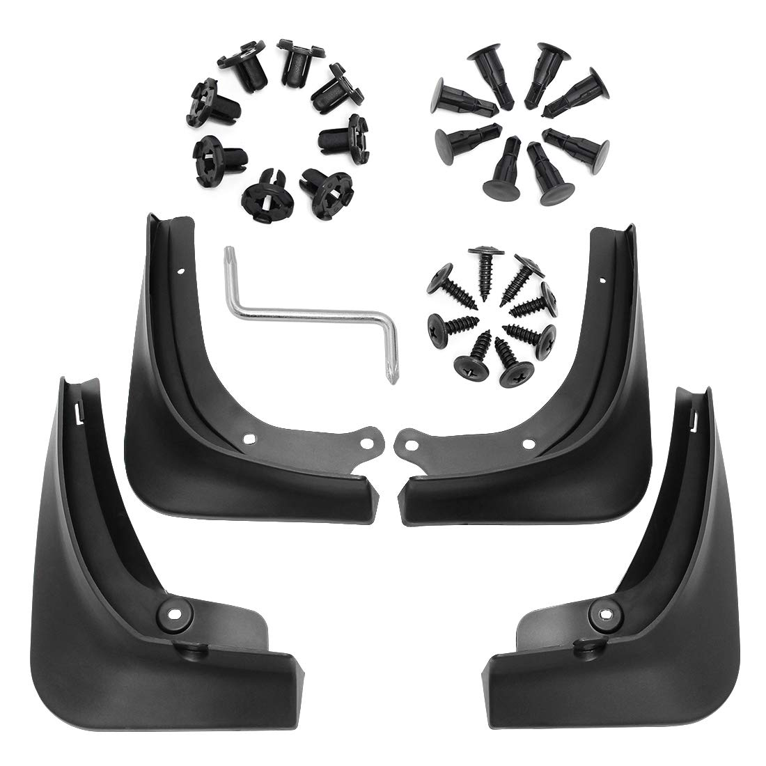 Set of 4 Black Wisamic Mud Flaps Splash Guards for Tesla Model 3 Fender Flares with Retainer Clips and Screwdriver