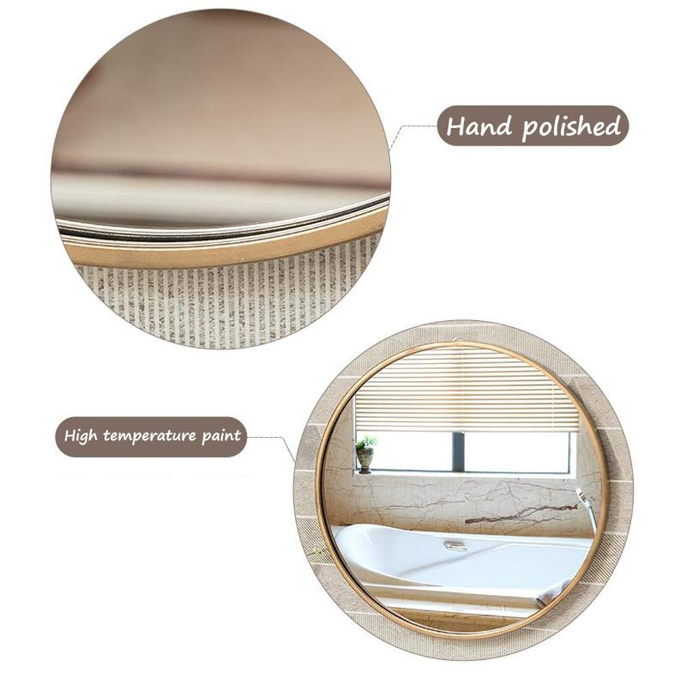 Mirror European Bathroom with Border Makeup Bathroom Wall Hanging Hair Salon Round Hotel Decorative Makeup (Color : Gold, Size : 3030cm) by Mirror (Image #6)