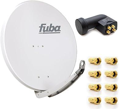 Fuba DAA 850 A Digital Antracita – Antena parabólica (85 x 85 cm Full HD 3d TV + LNB Quad de 0,1 dB PremiumX PXQS-04 04 Quattro Switch para conexión ...