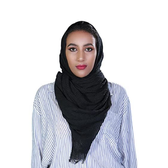 Women Cotton Bubble Plain Wrinkle Hijab Scarf With Fringes Popular Muslim Muffler Shawls Wraps Large Pashmina