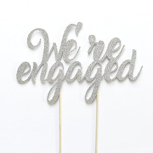 engaged cake topper engagement party decoration we re engaged cake