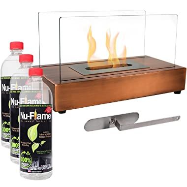 Sunnydaze Copper El Fuego Ventless Tabletop Bio Ethanol Fireplace with Fuel