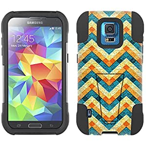Samsung Galaxy S5 Sport Hybrid Case Chevron Abstract Colorful 2 Piece Style Silicone Case Cover with Stand for Samsung Galaxy S5 Sport