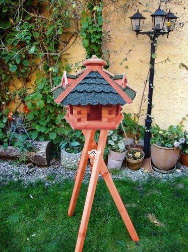 Pajarera/pájaros de jardín, Comedero de madera con silo de madera bg60g bems con soporte Pajarera Comedero para pájaros de jardín,: Amazon.es: Hogar