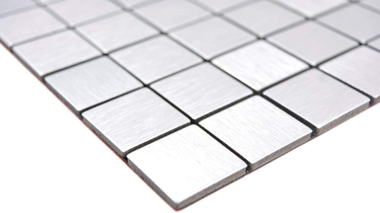 10 Matten Selbstklebnde Mosaikmatte Quadrat Alu Silver Brushed f/ür WAND K/ÜCHE Wandverblender Fliesenspiegel Verkleidung
