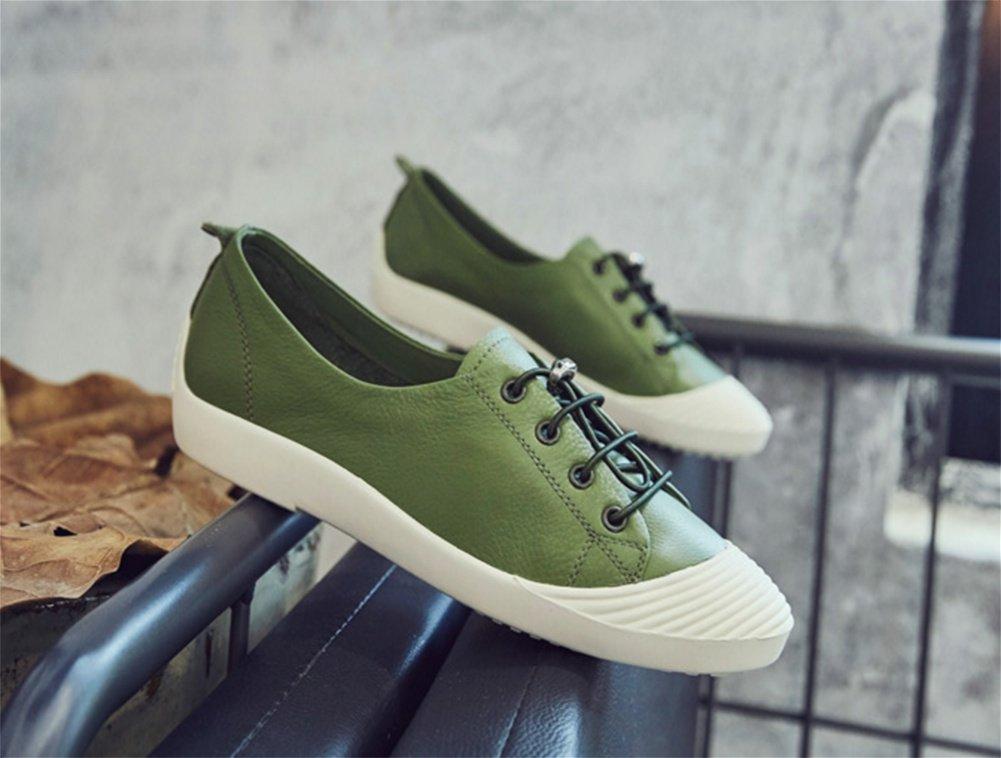 XIE Zapatos Planos Blancos Zapatos de Estudiante Respirables Salvajes de Verano de Cuero de Verano Femenino 35-39, Green, 35 35|green