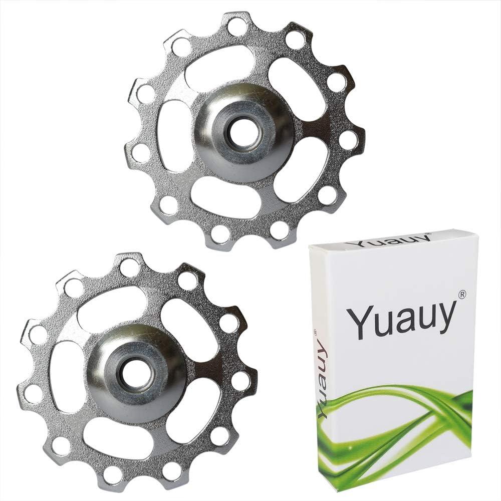 Yuauy 2 x Bike Rear Derailleur Pulley Guide Wheel Bicycle Cycling Aluminum for Road Bike Mountain Bike