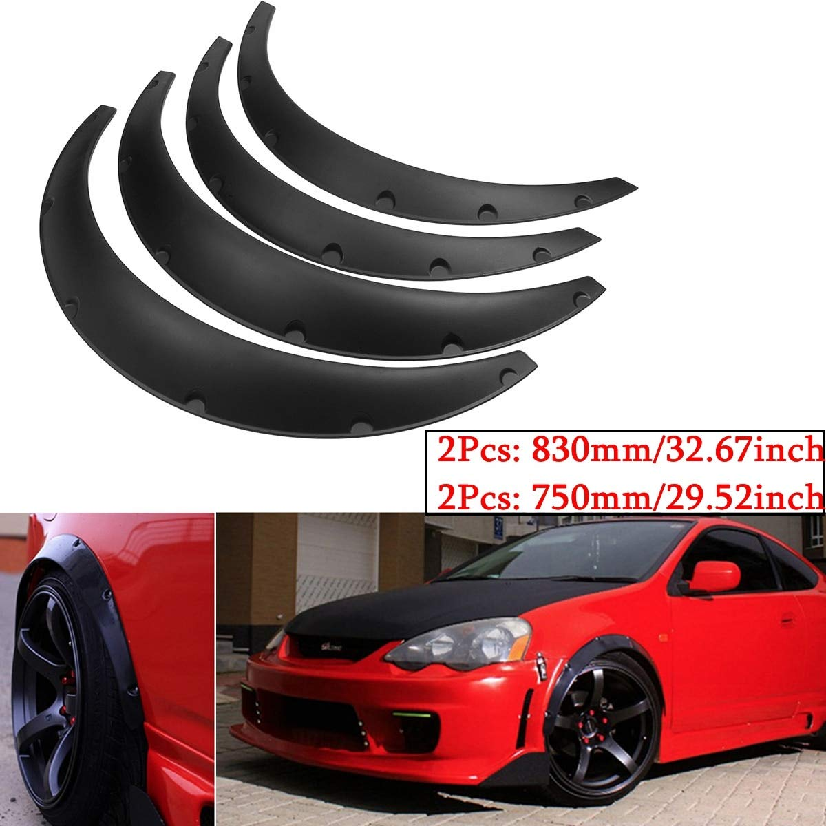 4 Pcs Black Polyurethane Car Pickup Flexible Automobile Exterior Fenders Flares