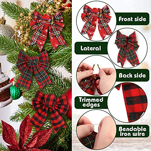 Johouse Red Buffalo Plaid Bows 12PCS Christmas Tree Bows Christmas Wreath Bow for Christmas Outdoor Decorations