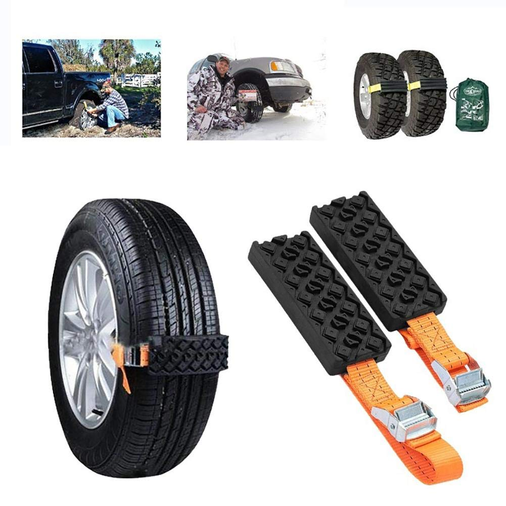 Ivyode 2 PCS Cable Snow Tire Chain Tire Anti-Skid Block, Reusable Car Anti Slip Tire Traction Easy Installation/Removal, for Car Truck SUV Emergency Winter Driving