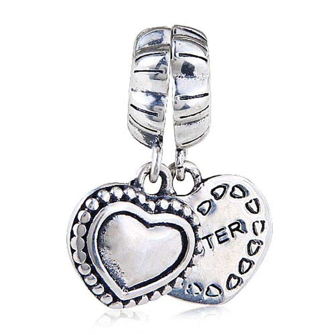 4f4567105 Amazon.com: Sister Charm 925 Sterling silver Heart Charm Love Charm Dangle  Charm for Pandora Bracelet: Arts, Crafts & Sewing