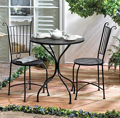 (Round Bistro Table Set, 3 Piece Black Wrought Iron Kitchen Cafe Tables and Chair Set, Compact Space Saving Three Pieces 2 Chairs Sets, Outside Balcony Indoor Outdoor Garden Patio Dining)