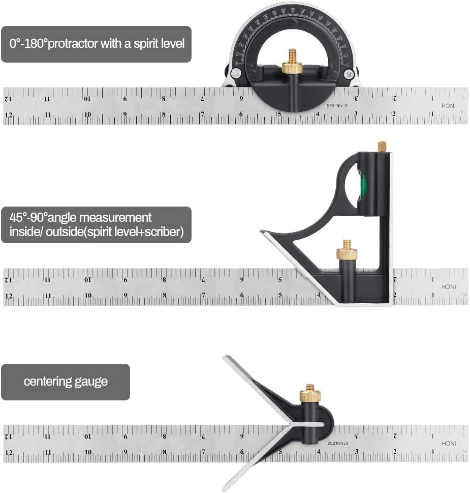 Laelr /Équerres de charpentier 12  Combinaison Carr/é Heavy Duty Set Carr/é Outils De Mesure Kits Pr/écision Protractor Angle Finder R/ègle Carpentry Squares
