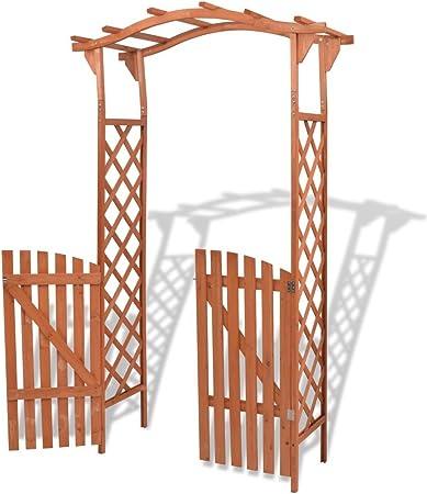 vidaXL Arco de Rosas Enrejado con Puerta Madera Maciza Marrón Arco ...